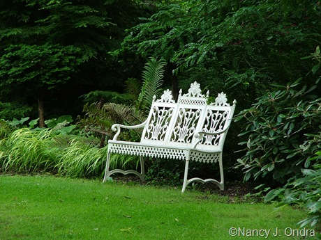 White bench at Rocky Dale Nursery