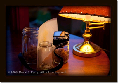 David Perry-a table lamp and small jar