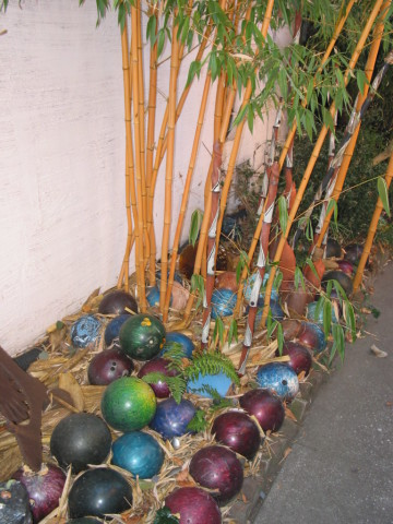 Great Mulch - Marcia Donahue's Bowling Ball Border - from one of the most original garden makers. Berkeley, California.