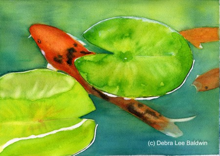 Watercolor painting for Koi fish pond for beginners