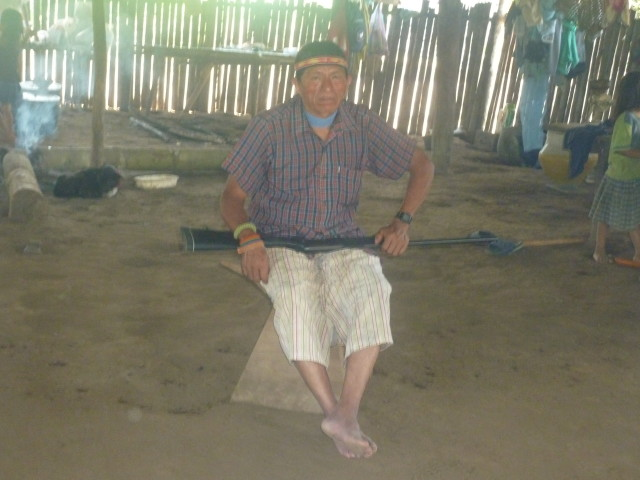 Raoul, a shaman for 40 years, in his home