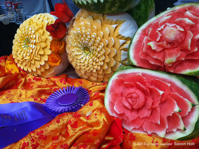 Prizewinning carved melons  Heirloom Expo