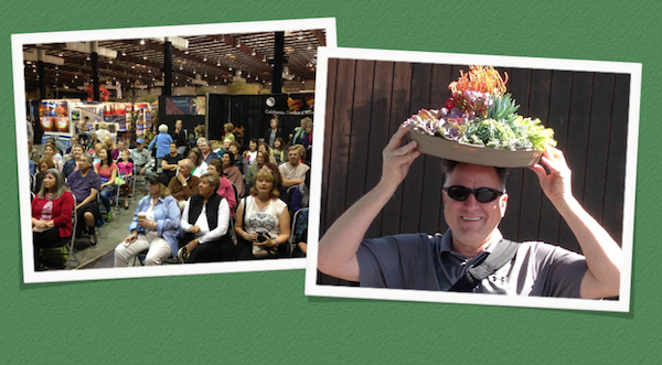 March 19-21: The audience at my San Francisco Flower & Garden Show potting demo. San Rafael landscape designer Gary Bartl used my succulent color wheel to channel Carmen Miranda.