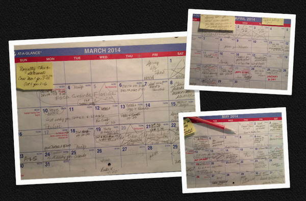 This spring's calendar pages, with speaking engagements indicated by stars.