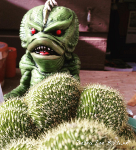Crested cactus with creature from the black lagoon